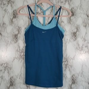Nike Blue Strappy Racerback Layer Tank Top S A45
